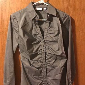 Gray button down shirt-xs, new!